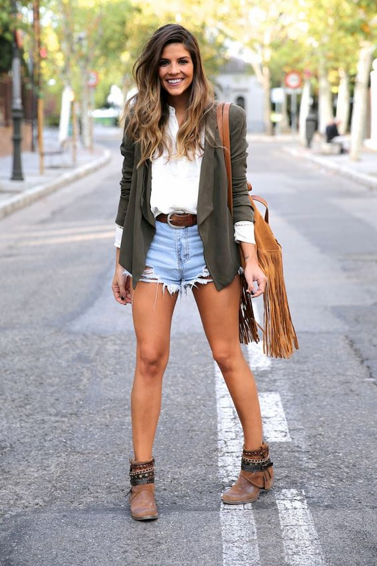 western style outfit with denim shorts