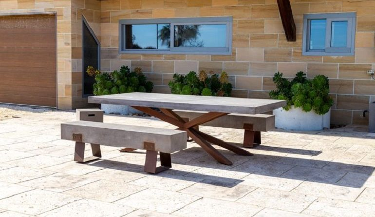 outdoor furniture concrete table