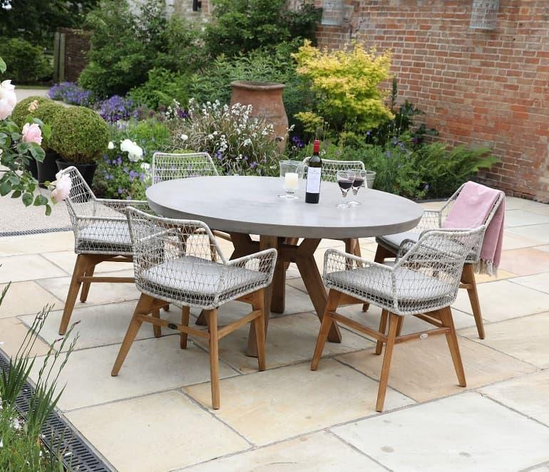 round concrete table in garden