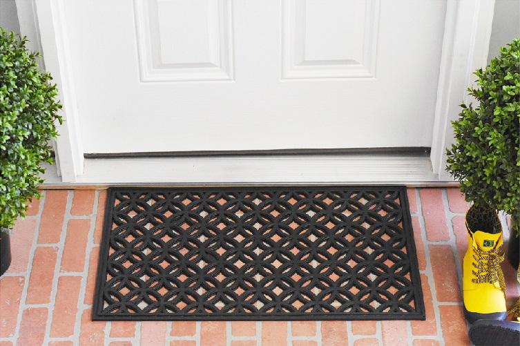 black doormat made of rubber