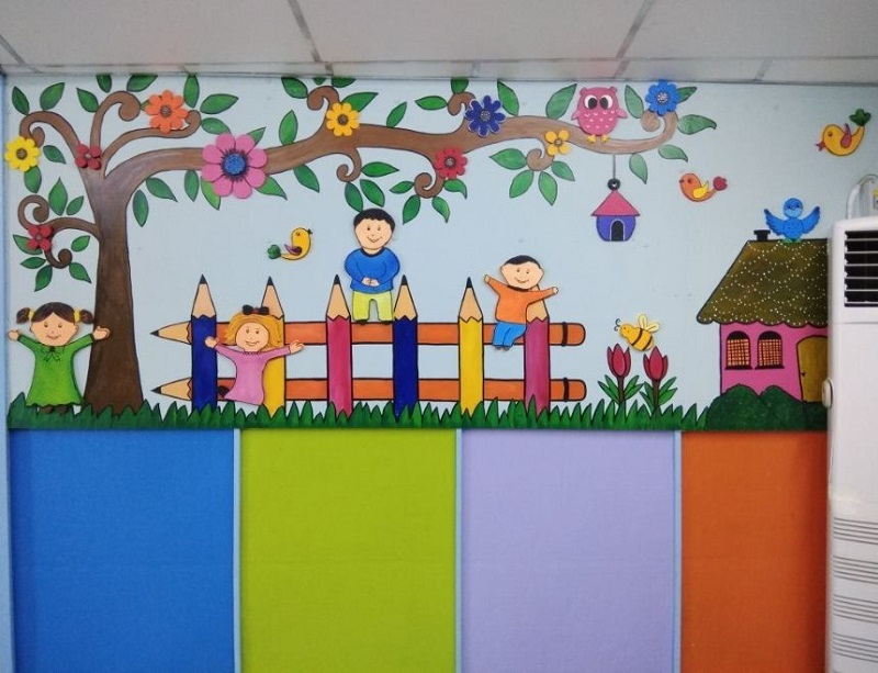 decorated wall in a classroom