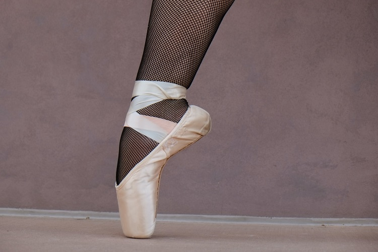 picture of a leg in ballet shoe
