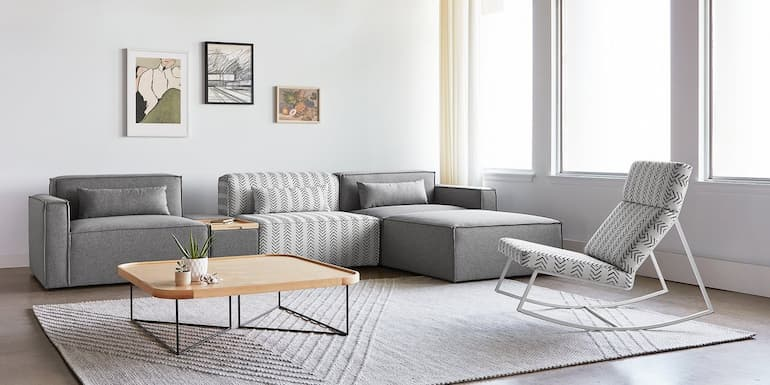 modern grey sofa bed and rocking chair for living room